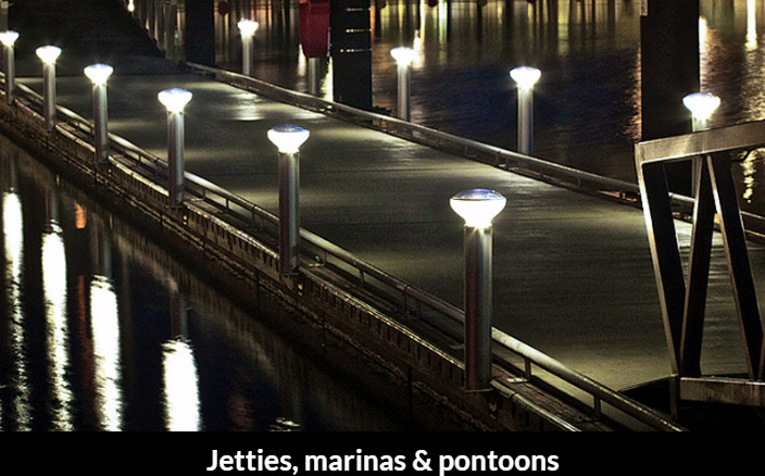 solar bollards for jetties ponttons marinas